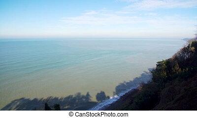 Seascape scenery with a seashore line