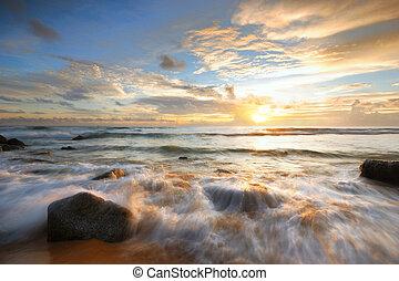 seascape - Sea waves lash line impact rock onthe beach