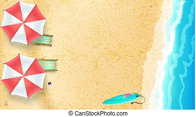 Seascape, seashore with sandy beach. Top view of summer beach with waves of surf, sun umbrella, deck chairs, surfboard. Vector background of best moments of summer, flat lay position, 3D illustration.