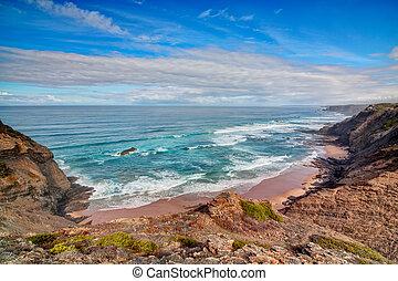 Seascape shore Vicentina. Portugal.