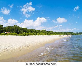 seascape, Sopot, Poland - sea coast with white sand, Baltic,...