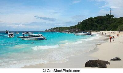 Seascape. - Pan of Andaman sea on Similan Islands.