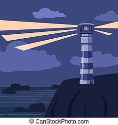 Seascape, stones, rocks, lighthous, vector illustration, cartoon style, isolated