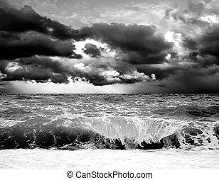 seascape, tempestade, vista