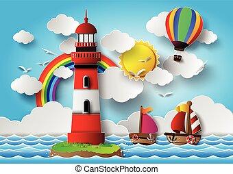 seascape., vecteur, illustration, phare
