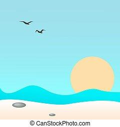 Seascape, vector illustration