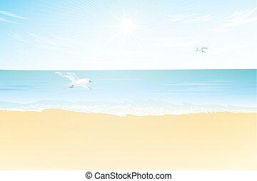 Seascape vector illustration.