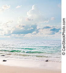 Seascape vertical panorama. Koh Samet Island in Thailand. Made in high key technique in pastel colors. XXL size.