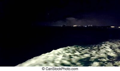 Seascape view from ferry at night
