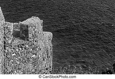seascape view from the castle of Monemvasia Peloponnese Greece - black and white photography