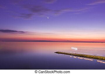 Seascape, view of breakwater, long exposure, Black Sea, Small Bay, Anapa, Russia