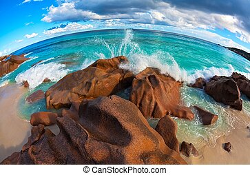 Seascape view with a huge stones - Seascape fisheye view ...