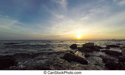 Seascape view with sunset. Time lapse, 4k.