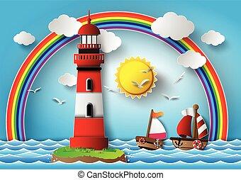 seascape., wektor, ilustracja, latarnia morska