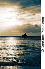 seascape with alone ship