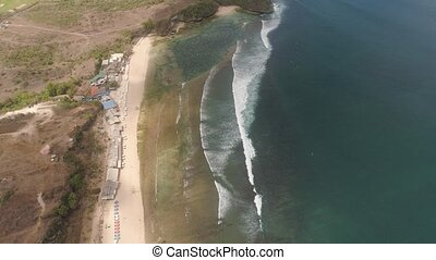 Seascape with beach bali, indonesia - aerial view coastline...