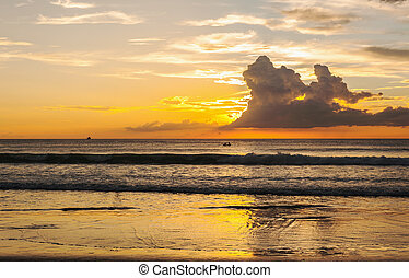 Seascape with beautiful of color of the sunset