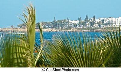 Seascape with houses on the coast. Beautiful panoramic view...