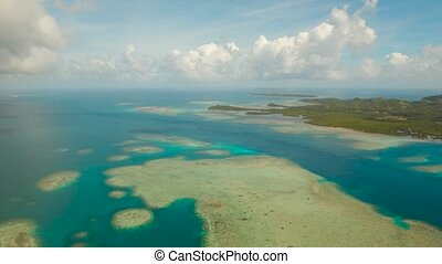 Seascape with lagoons and islands - aerial footage islands...