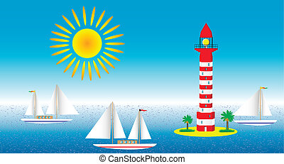 Seascape with lighthouse and sailboats - vector illustration...