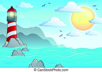 Seascape with lighthouse theme 1