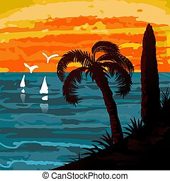 Seascape with palm and sails