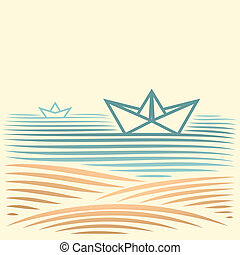seascape with paper boat