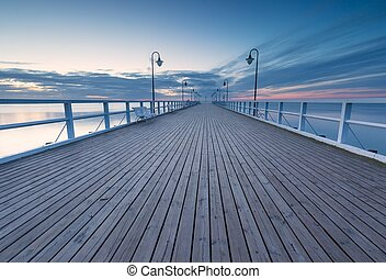 Seascape with pier. Molo in Orlowo, Gdynia
