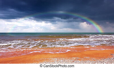 seascape with rainbow