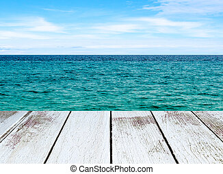 Seascape with sea and sky,  white wooden plank in perspective