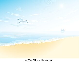Seascape with wavy sea surface, cloudy sky, flying seagull