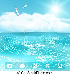 Seascape with Seagulls. Vector illustration, eps10.