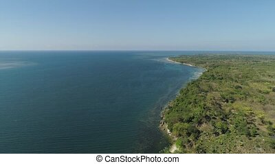 Seascape with stony shore. - Aerial view of Coastline...