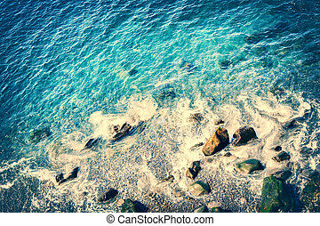 Seascape with top view of Atlantic ocean coast