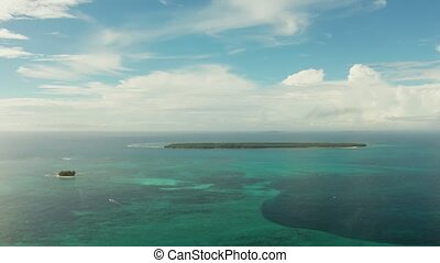 Seascape with tropical islands and turquoise water. -...