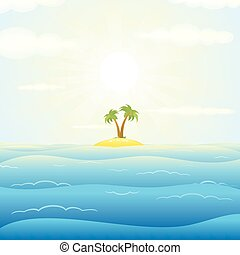 Seascape withTropical Island. Vector Illustration