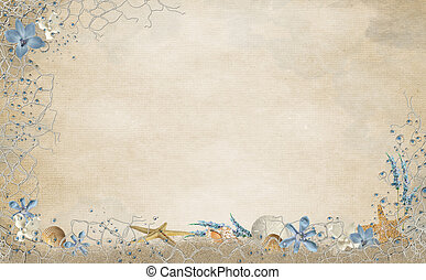 Seashell and starfish net frame on textured background