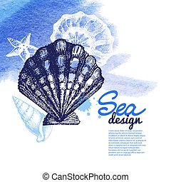 Seashell background - Sea nautical design. Hand drawn sketch...