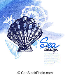 Seashell background - Sea nautical design. Hand drawn sketch...