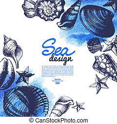 Seashell background. Sea nautical design. Hand drawn sketch and