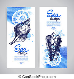 Seashell banners. Sea nautical design. Hand drawn sketch and wat