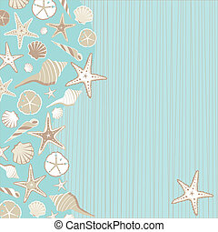 Seashell Beach party invitation with a variety of shells on an aqua teal stria background with a whimsical beach or tropical feel and plenty of room for your party info