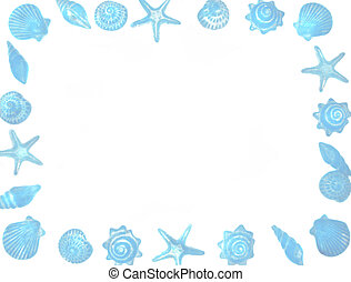 seashell border - seashells and starfish background border...