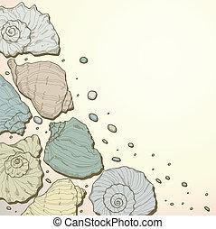 seashell, dessin, fond, main