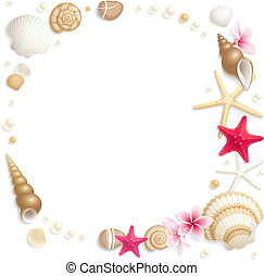 Seashell frame - Background with seashells and starfishes ...