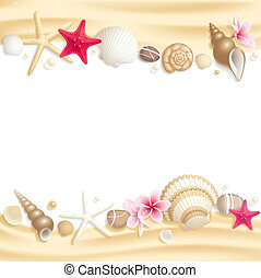Seashell frame - Background with seashells and starfishes...