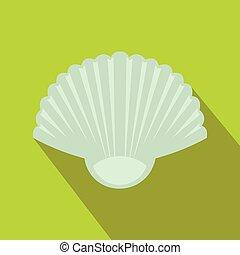 Seashell icon, flat style