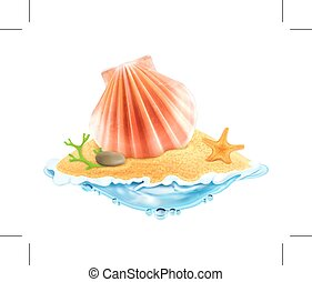 Seashell in the sand, vector illustration, isolated on white...