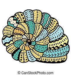 Seashell line art - Seashell. Zentangle Vector illustration,...