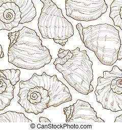 seashell, main, seamless, dessin